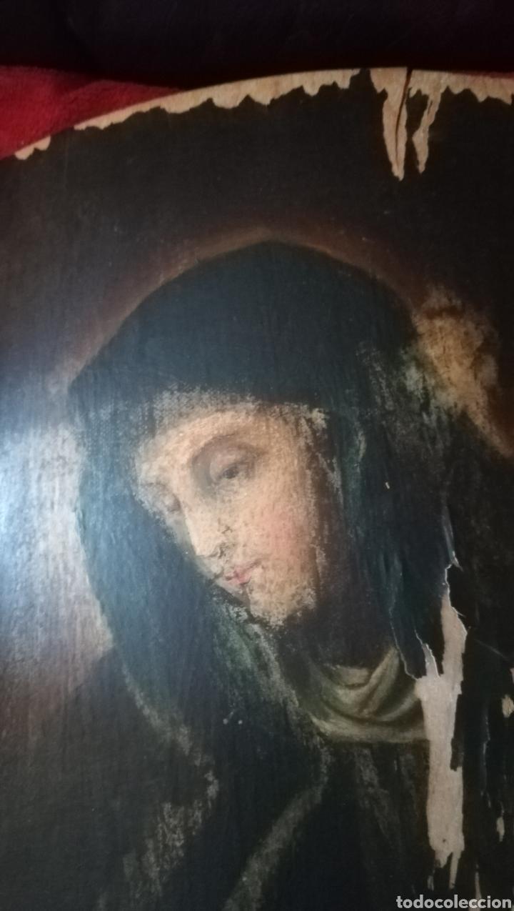 Arte: Antiguo óleo religioso sobre madera abarquillada - Foto 4 - 109464240