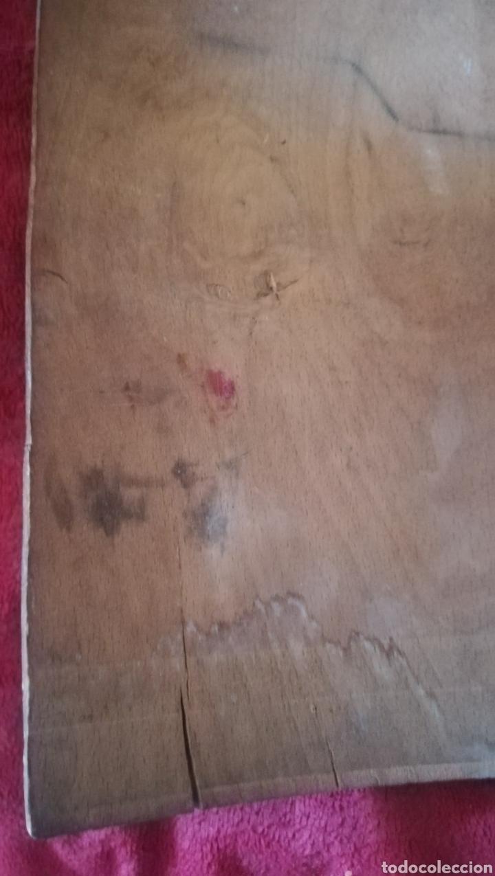 Arte: Antiguo óleo religioso sobre madera abarquillada - Foto 6 - 109464240