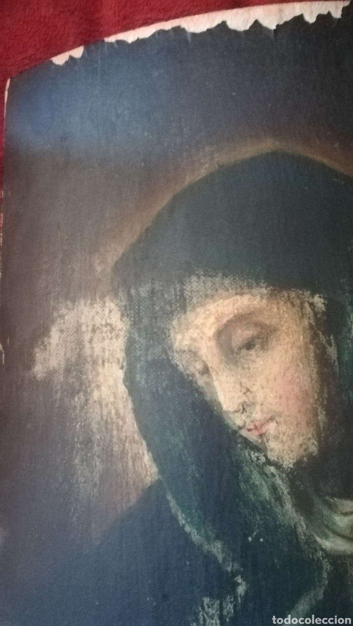 Arte: Antiguo óleo religioso sobre madera abarquillada - Foto 8 - 109464240