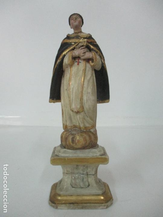 Arte: Antigua Talla de Madera Policromada y Dorada - Santo Domingo - Escuela Catalana - S. XVIII - Foto 13 - 170544328