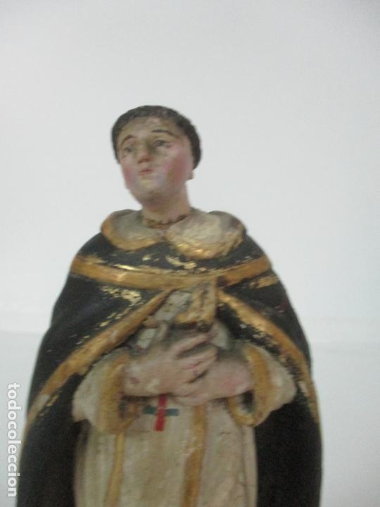 Arte: Antigua Talla de Madera Policromada y Dorada - Santo Domingo - Escuela Catalana - S. XVIII - Foto 14 - 170544328