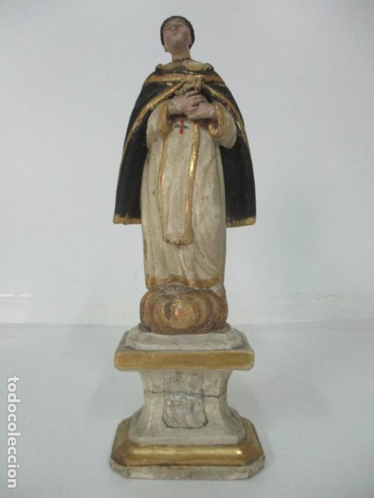 Arte: Antigua Talla de Madera Policromada y Dorada - Santo Domingo - Escuela Catalana - S. XVIII - Foto 17 - 170544328