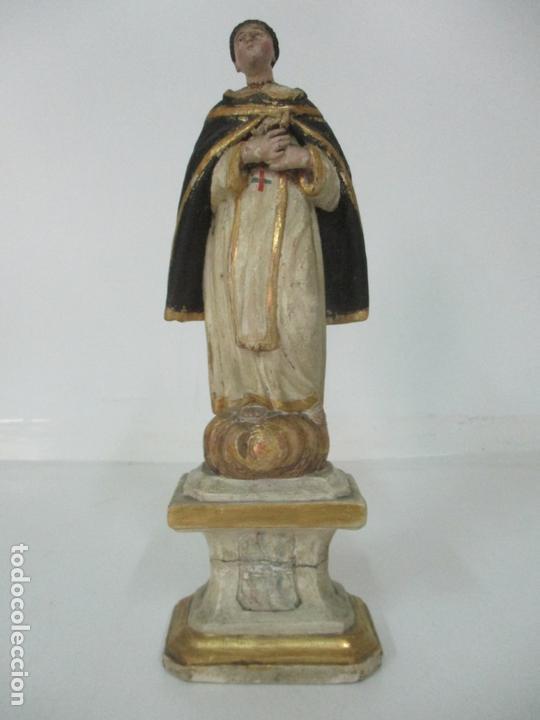 ANTIGUA TALLA DE MADERA POLICROMADA Y DORADA - SANTO DOMINGO - ESCUELA CATALANA - S. XVIII (Arte - Arte Religioso - Escultura)
