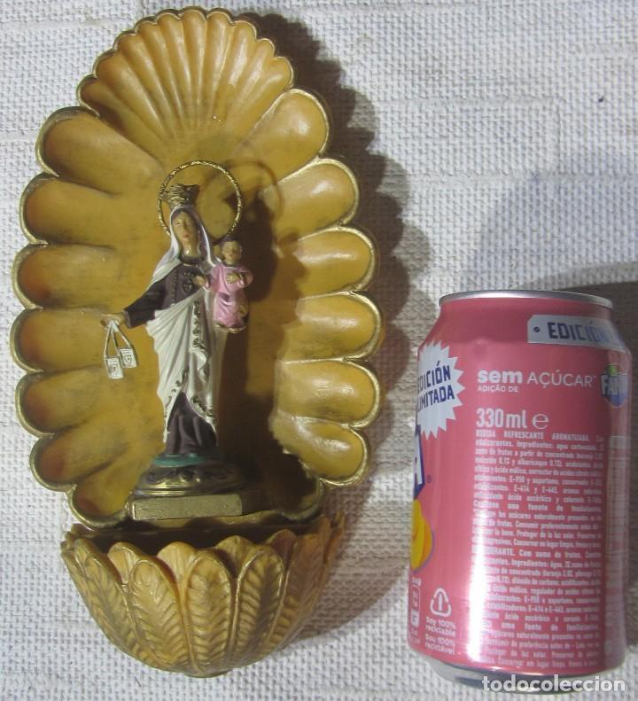 BENDITERA VIRGEN CARMEN EN RESINA 23 X 13 X 6 CM. (Arte - Arte Religioso - Escultura)