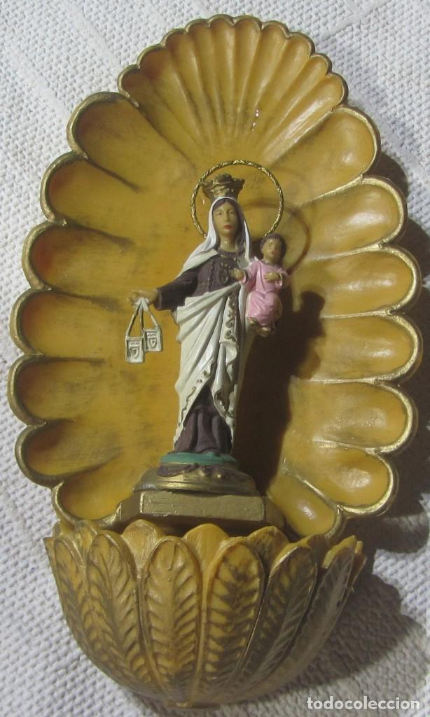 Arte: Benditera Virgen Carmen en Resina 23 x 13 x 6 cm. - Foto 2 - 170546724