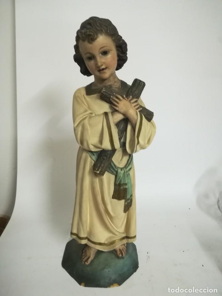 Arte: San Juan. San Juanito. Escultura estuvo policromado de Olot. 1930s aprox. Necesita restauracion. - Foto 4 - 170587250