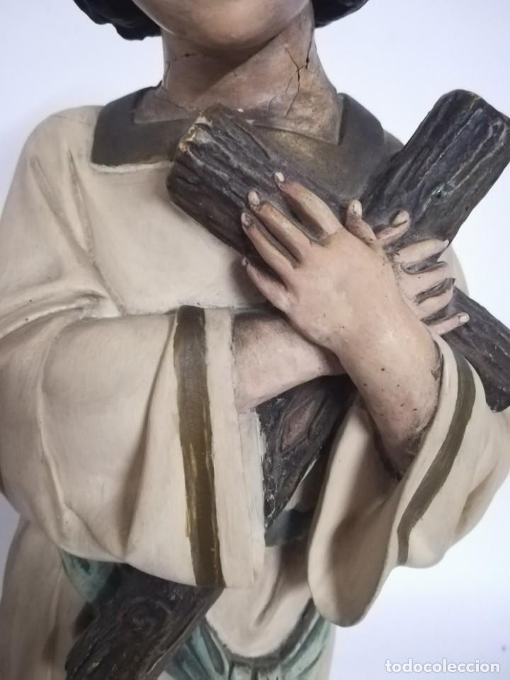 Arte: San Juan. San Juanito. Escultura estuvo policromado de Olot. 1930s aprox. Necesita restauracion. - Foto 10 - 170587250