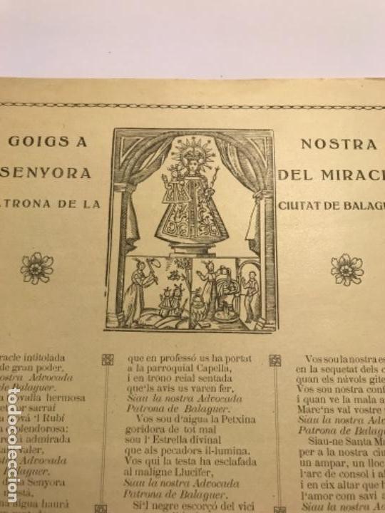 Arte: Raro goigs - gozos - mare de deu del miracle Balaguer - patrona de la ciutat..1914 - Foto 2 - 170713030