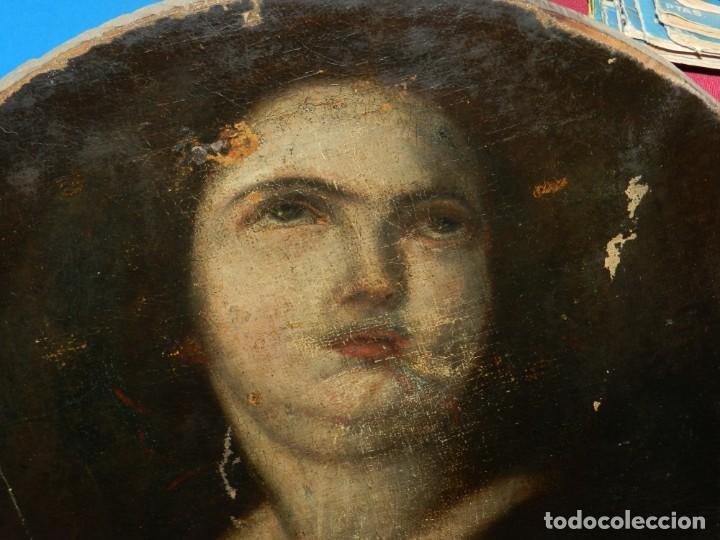 (M) ÓLEO RELIGIOSO ESCUELA ESPAÑOLA S. XVIII / XIX, ESTÁ SIN FIRMAR, 40 CM, SEÑALES DE USO (Arte - Arte Religioso - Pintura Religiosa - Oleo)