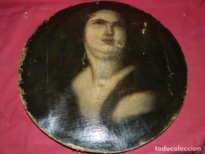Arte: (M) Óleo Religioso Escuela Española S. XVIII / XIX, Está Sin Firmar, 40 cm, Señales de Uso - Foto 2 - 170921955
