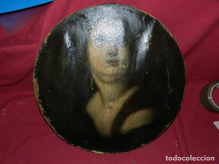 Arte: (M) Óleo Religioso Escuela Española S. XVIII / XIX, Está Sin Firmar, 40 cm, Señales de Uso - Foto 3 - 170921955