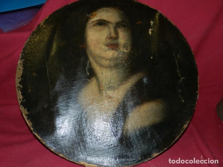 Arte: (M) Óleo Religioso Escuela Española S. XVIII / XIX, Está Sin Firmar, 40 cm, Señales de Uso - Foto 4 - 170921955