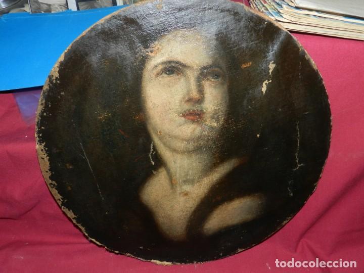 Arte: (M) Óleo Religioso Escuela Española S. XVIII / XIX, Está Sin Firmar, 40 cm, Señales de Uso - Foto 5 - 170921955