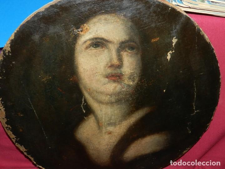 Arte: (M) Óleo Religioso Escuela Española S. XVIII / XIX, Está Sin Firmar, 40 cm, Señales de Uso - Foto 6 - 170921955