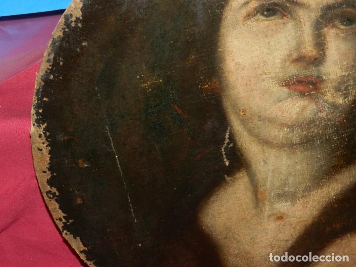 Arte: (M) Óleo Religioso Escuela Española S. XVIII / XIX, Está Sin Firmar, 40 cm, Señales de Uso - Foto 8 - 170921955