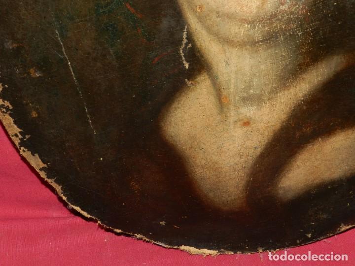 Arte: (M) Óleo Religioso Escuela Española S. XVIII / XIX, Está Sin Firmar, 40 cm, Señales de Uso - Foto 9 - 170921955