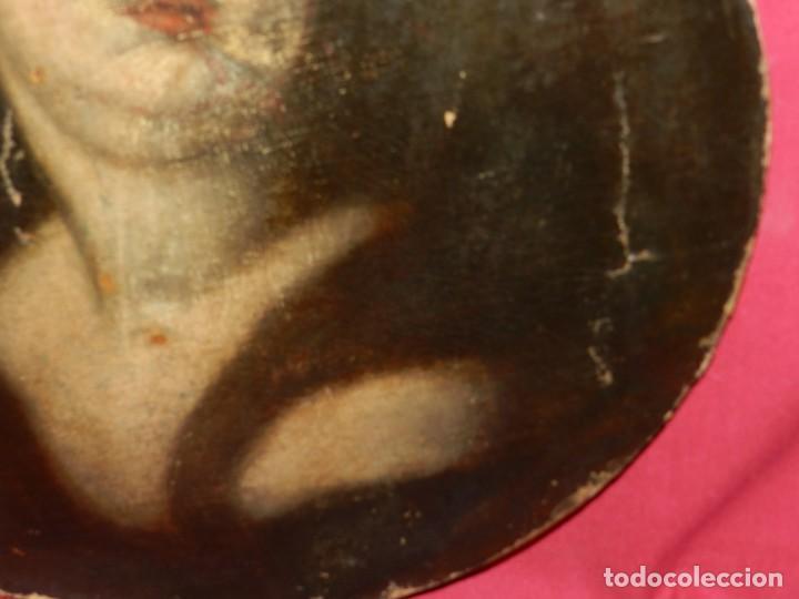 Arte: (M) Óleo Religioso Escuela Española S. XVIII / XIX, Está Sin Firmar, 40 cm, Señales de Uso - Foto 10 - 170921955