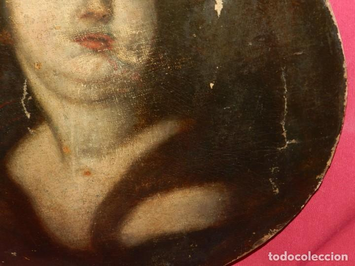 Arte: (M) Óleo Religioso Escuela Española S. XVIII / XIX, Está Sin Firmar, 40 cm, Señales de Uso - Foto 11 - 170921955