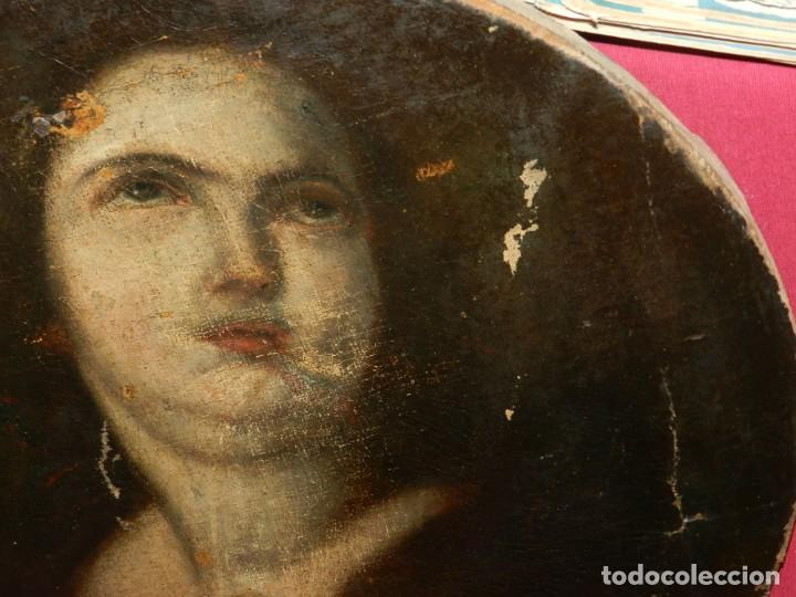 Arte: (M) Óleo Religioso Escuela Española S. XVIII / XIX, Está Sin Firmar, 40 cm, Señales de Uso - Foto 12 - 170921955