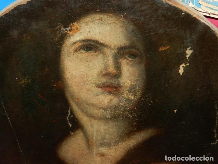 Arte: (M) Óleo Religioso Escuela Española S. XVIII / XIX, Está Sin Firmar, 40 cm, Señales de Uso - Foto 13 - 170921955