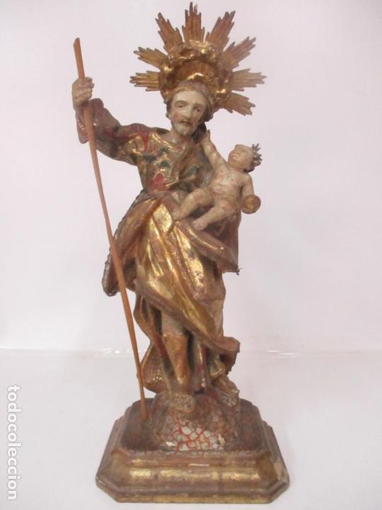 SAN JOSÉ - TALLA DE MADERA POLICROMADA Y DORADA - ESCUELA CATALANA - S. XVIII (Arte - Arte Religioso - Escultura)