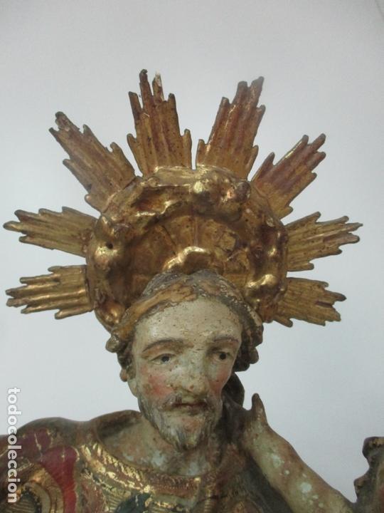 Arte: San José - Talla de Madera Policromada y Dorada - Escuela Catalana - S. XVIII - Foto 6 - 171016067