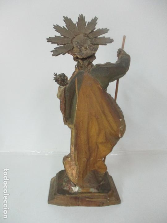 Arte: San José - Talla de Madera Policromada y Dorada - Escuela Catalana - S. XVIII - Foto 13 - 171016067