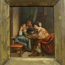 Arte: 18TH CENTURY DUTCH SCHOOL LADY & GENTLEMAN & LADY PLAYING CHESS INTERIOR ANTIQUE OIL. Lote 171047805