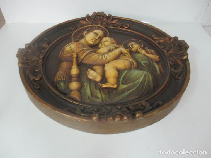 Arte: Precioso Gran Relieve - Virgen y Niño Jesús - Plafón Redondo - Estuco Policromado - Talleres de Olot - Foto 2 - 171082903