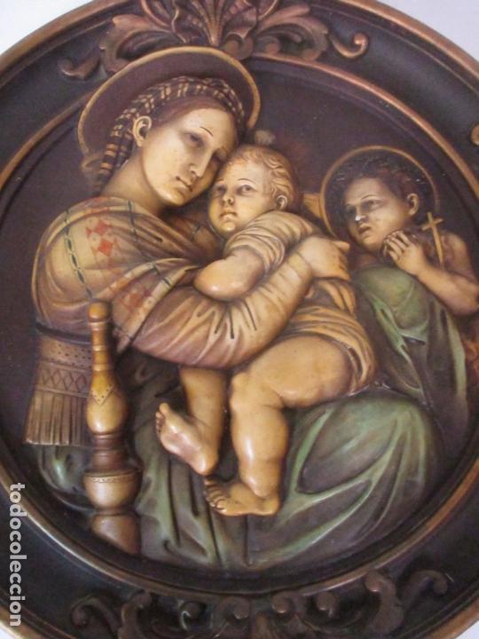 Arte: Precioso Gran Relieve - Virgen y Niño Jesús - Plafón Redondo - Estuco Policromado - Talleres de Olot - Foto 4 - 171082903