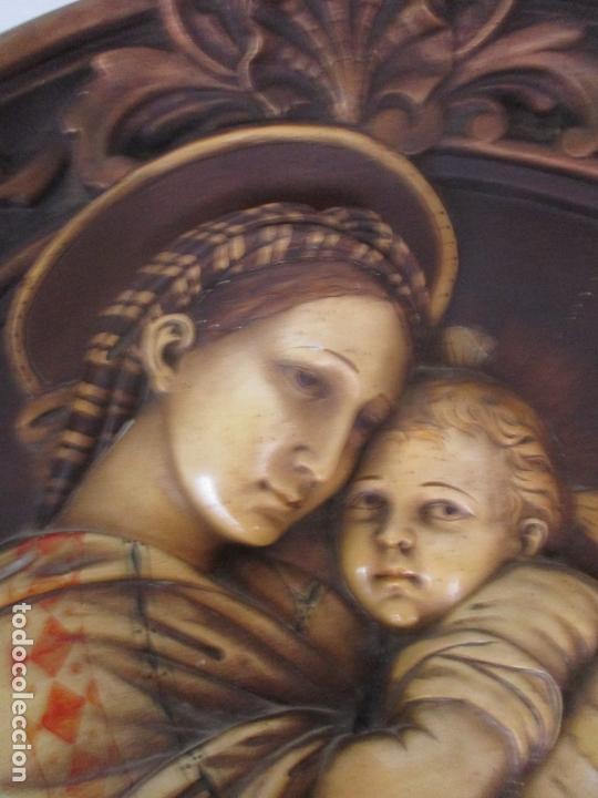 Arte: Precioso Gran Relieve - Virgen y Niño Jesús - Plafón Redondo - Estuco Policromado - Talleres de Olot - Foto 5 - 171082903