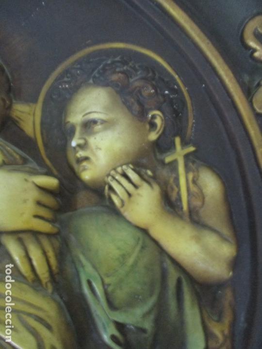 Arte: Precioso Gran Relieve - Virgen y Niño Jesús - Plafón Redondo - Estuco Policromado - Talleres de Olot - Foto 6 - 171082903