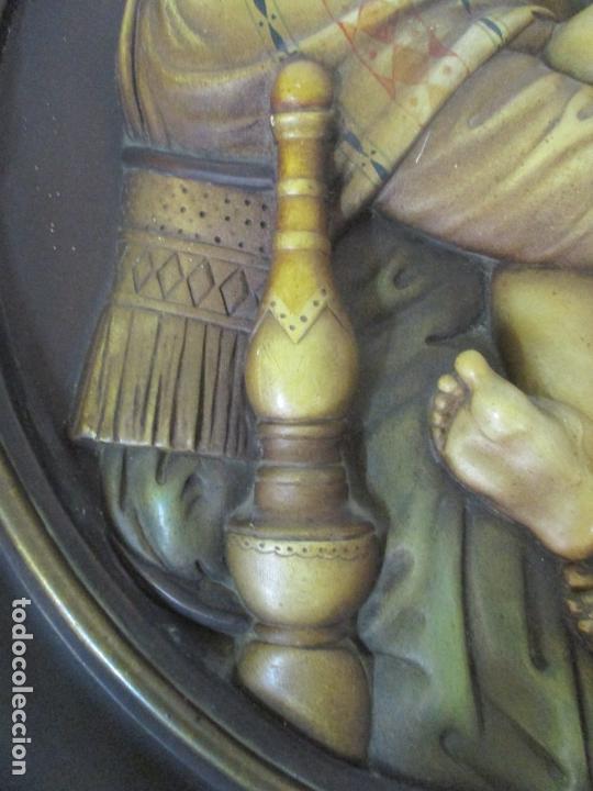 Arte: Precioso Gran Relieve - Virgen y Niño Jesús - Plafón Redondo - Estuco Policromado - Talleres de Olot - Foto 8 - 171082903