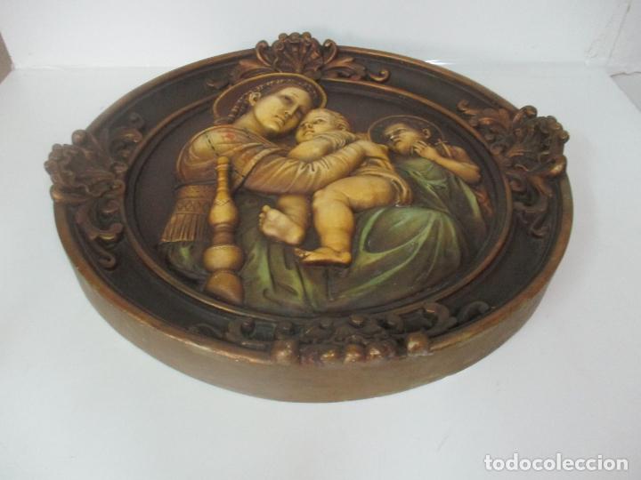 Arte: Precioso Gran Relieve - Virgen y Niño Jesús - Plafón Redondo - Estuco Policromado - Talleres de Olot - Foto 9 - 171082903