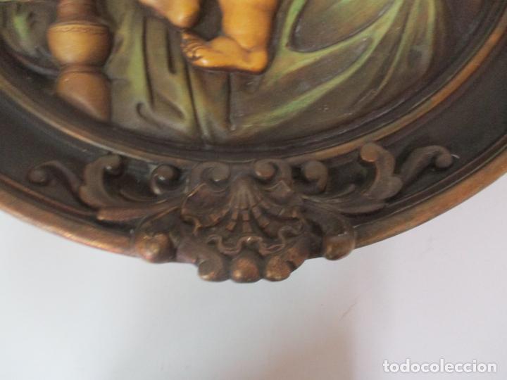 Arte: Precioso Gran Relieve - Virgen y Niño Jesús - Plafón Redondo - Estuco Policromado - Talleres de Olot - Foto 10 - 171082903