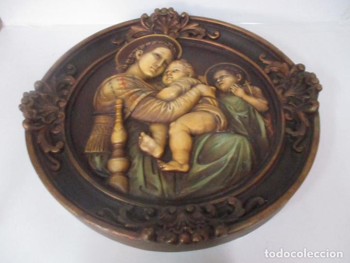 Arte: Precioso Gran Relieve - Virgen y Niño Jesús - Plafón Redondo - Estuco Policromado - Talleres de Olot - Foto 13 - 171082903