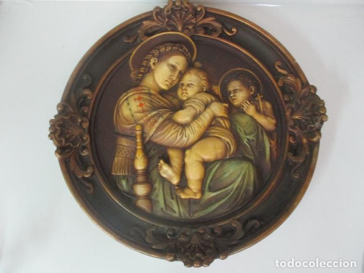 Arte: Precioso Gran Relieve - Virgen y Niño Jesús - Plafón Redondo - Estuco Policromado - Talleres de Olot - Foto 14 - 171082903