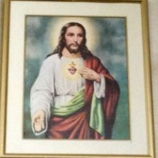 Arte: BONITA LITOGRAFIA ENMARCADA DEL SAGRADO CORAZÓN DE JESÚS. Lote 171085385