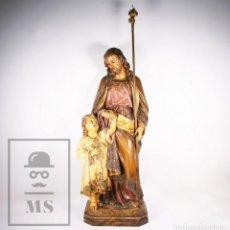 Arte: GRAN ESCULTURA EL ARTE CRISTIANO, OLOT - SAN JOSÉ CON NIÑO JESÚS - PRINCIPIOS S. XX - ALTURA 83 CM. Lote 171085857
