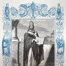 Arte: SAN CELESTINO, PAPA Y CONFESOR - GRABADO DÉCADAS 1850-1860 - MUY BUEN ESTADO. Lote 171113953