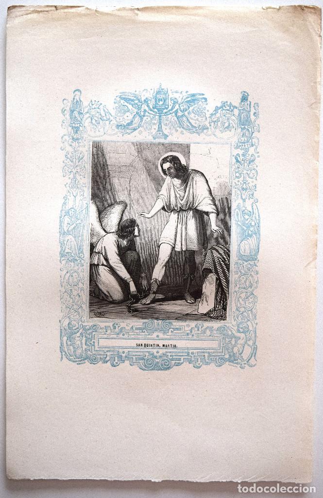 Arte: SAN QUINTIN, MARTIR - GRABADO DÉCADAS 1850-1860 - MUY BUEN ESTADO - Foto 2 - 171114325