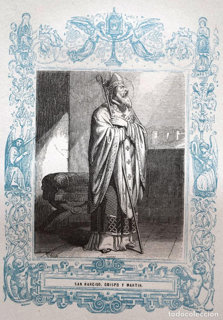 SAN NARCISO, OBISPO Y MARTIR - GRABADO DÉCADAS 1850-1860 - MUY BUEN ESTADO (Arte - Arte Religioso - Grabados)