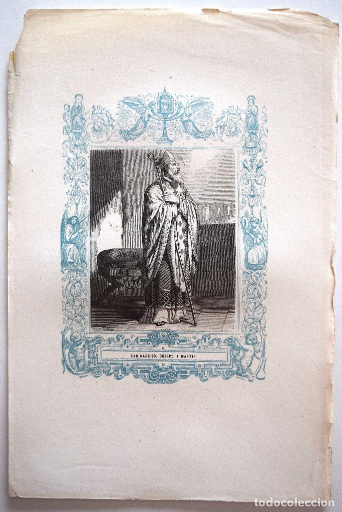Arte: SAN NARCISO, OBISPO Y MARTIR - GRABADO DÉCADAS 1850-1860 - MUY BUEN ESTADO - Foto 2 - 171114435