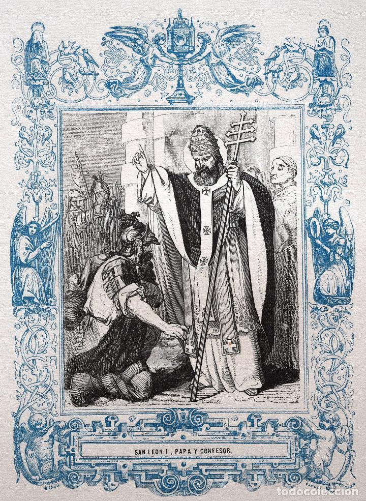 SAN LEÓN I, PAPA Y CONFESOR - GRABADO DÉCADAS 1850-1860 - MUY BUEN ESTADO (Arte - Arte Religioso - Grabados)