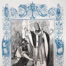 Arte: SAN LEÓN I, PAPA Y CONFESOR - GRABADO DÉCADAS 1850-1860 - MUY BUEN ESTADO. Lote 171114677