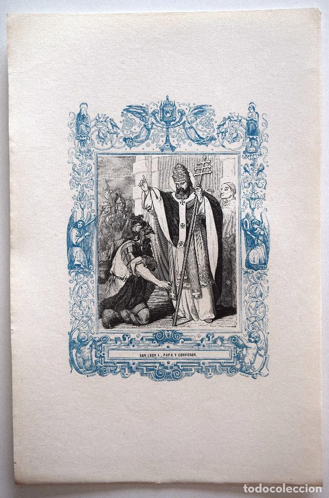 Arte: SAN LEÓN I, PAPA Y CONFESOR - GRABADO DÉCADAS 1850-1860 - MUY BUEN ESTADO - Foto 2 - 171114677