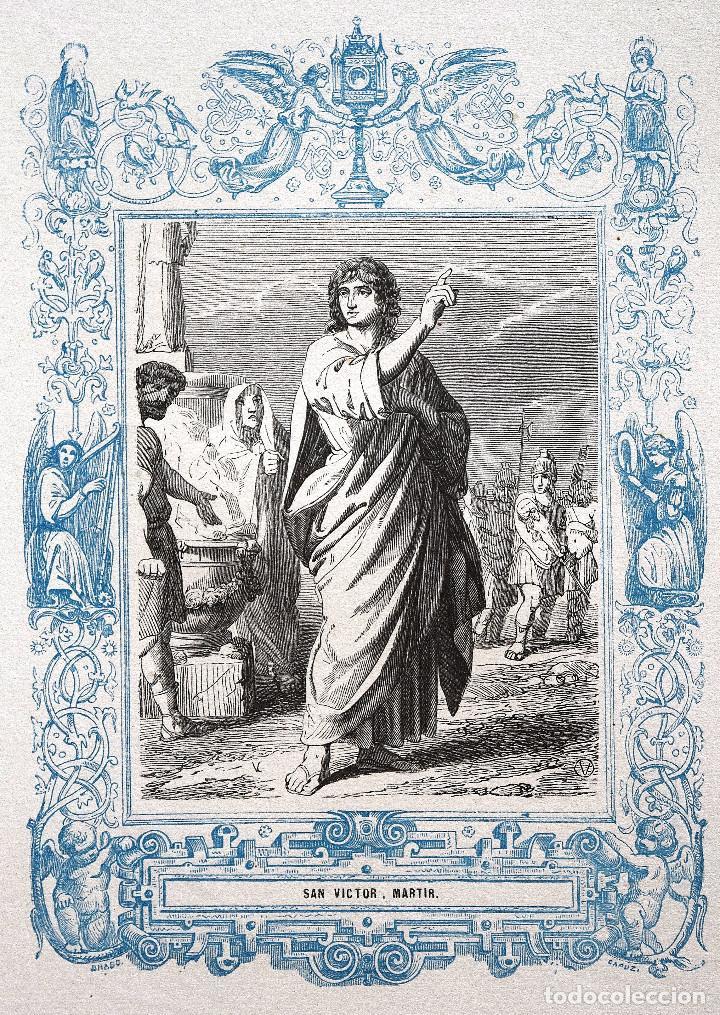 SAN VICTOR, MARTIR - GRABADO DÉCADAS 1850-1860 - MUY BUEN ESTADO (Arte - Arte Religioso - Grabados)