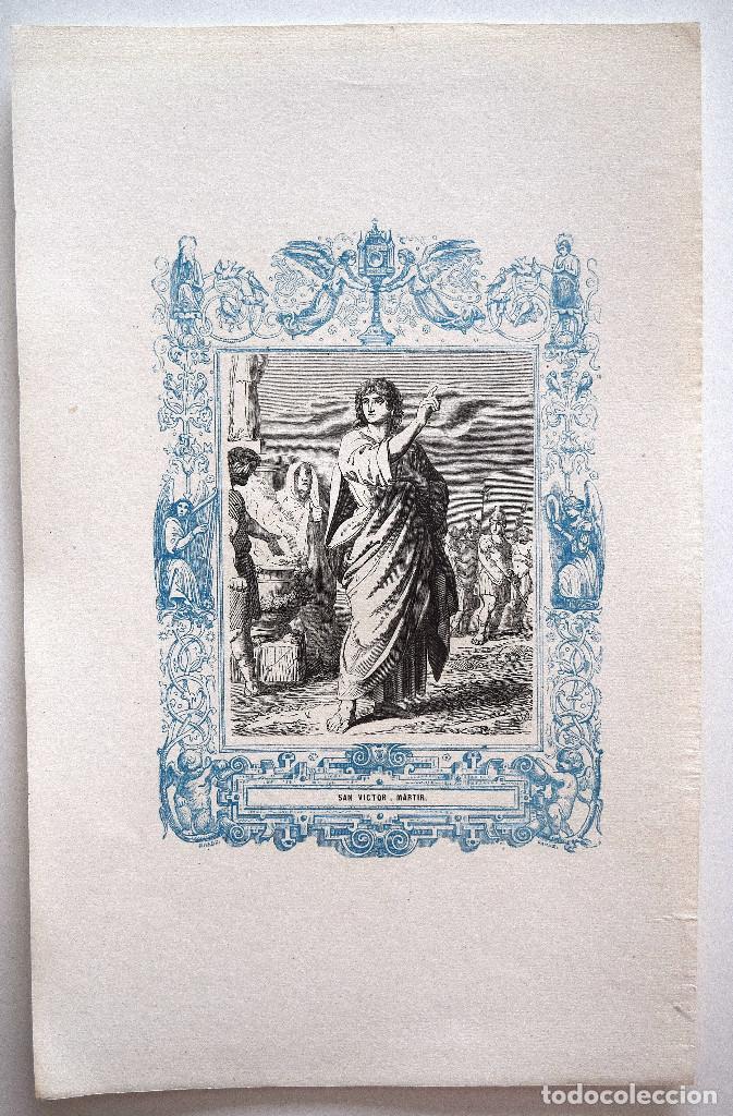 Arte: SAN VICTOR, MARTIR - GRABADO DÉCADAS 1850-1860 - MUY BUEN ESTADO - Foto 2 - 171114749
