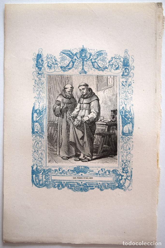 Arte: SAN PEDRO REGALADO - GRABADO DÉCADAS 1850-1860 - MUY BUEN ESTADO - Foto 2 - 171114918