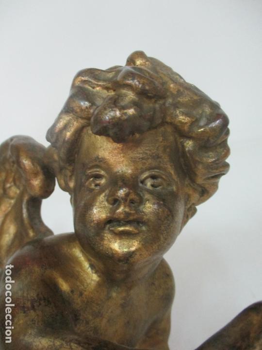 Arte: Preciosa Pareja de Ángeles Querubines - Ángel en Talla de Madera Dorada - S. XVIII-XIX - Foto 8 - 171120043